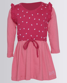 Lizzy Girls Long Sleeve Parvati Dress Pink