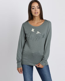 Lizzy  Dolores Crew Sweater Dusty Green