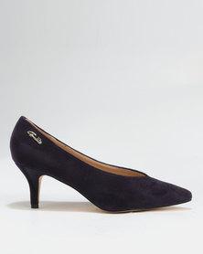 Gino Paoli Suede V-Vamp Kitten Heel Court Purple