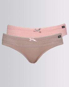 Kangol 2 Pack Microfibre & Lace Bikini Coral/Mocca