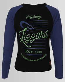 Lizzard Boys Long Sleeve Trump Tee Blue/Black