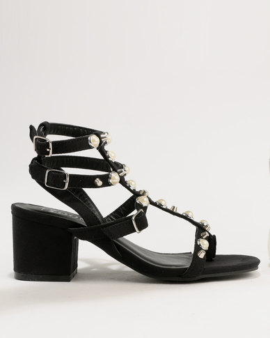 ZOOM Lola Pearl Trim Strappy Block Heel Sandals Black