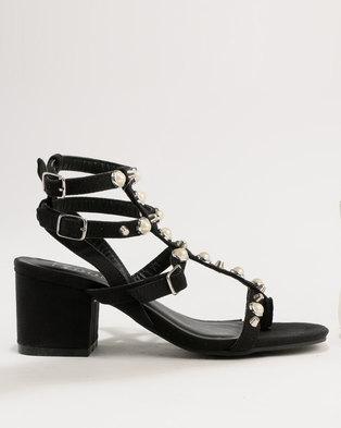 7f73e6e4fea4 ZOOM Lola Pearl Trim Strappy Block Heel Sandals Black