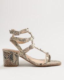 ZOOM Lola Pearl Trim Strappy Block Heel Sandal Snake