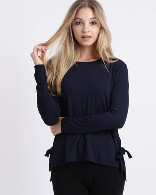 39708e4400443 Slick Long Sleeve With Tie Detail Top Navy