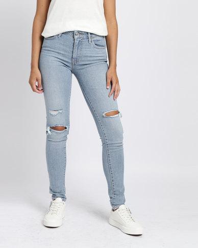 1a2bdc1630a5 Levi's 721 High Rise Skinny Fit Jeans Worn & Torn Blue | Zando