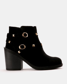 Utopia Studded Chunky Heel Boot Black