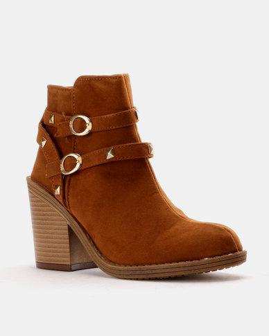Utopia Utopia Studded Chunky Heel Boot Tan geniue stockist sale online free shipping manchester great sale tm1eAip9