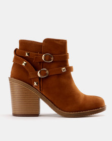 Utopia Studded Chunky Heel Boot Tan
