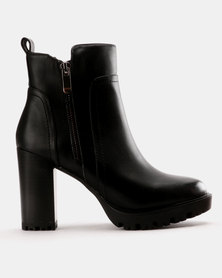 Utopia Stack Heel Ankle Boot Black