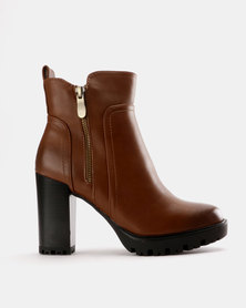 Utopia Stack Heel Ankle Boot Tan