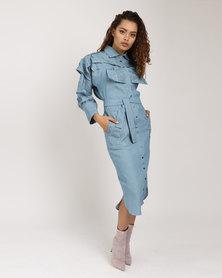 Judith Atelier Manipulated Yoke Shirt Dress Blue