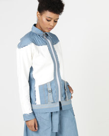 Judith Atelier Piped Paneled Denim And Scuba Bomber Teal/Ivory