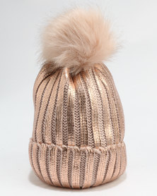 You & I HW Knitted Beanie With Metallic Paint Faux Fur Pom & Faux Fur Lining Rose Gold