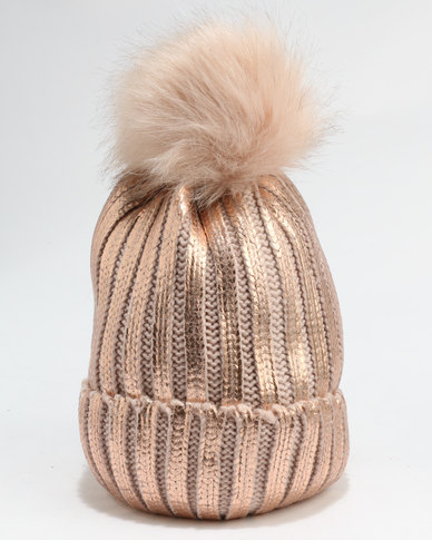You   I HW Knitted Beanie With Metallic Paint Faux Fur Pom   Faux Fur  Lining Rose Gold  29685e77833