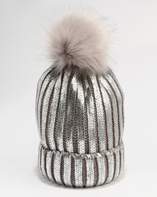 You & I HW Knitted Beanie With Metallic Paint  Faux Fur Pom & Faux Fur Lining  Silver/Grey