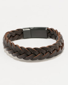 Xcalibur Braided PU Bracelet Brown