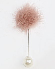 Lily & Rose Fur Ball Brooch Pink