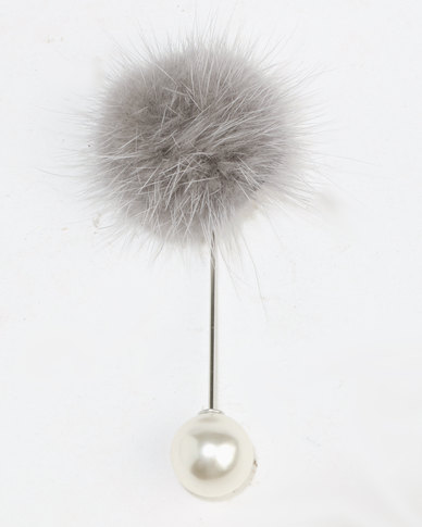 Lily & Rose Fur Ball Brooch Grey