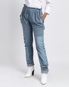 Judith Atelier Drawstring Patched Jeans Blue