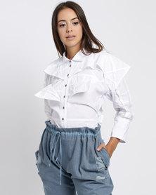 Judith Atelier Manipulated Yoke Shirt White