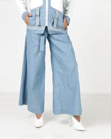 Judith Atelier Wide Leg Denim Trousers Blue
