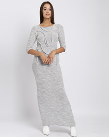 Judith Atelier Knit Corded Maxi Dress Grey
