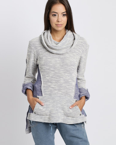 Judith Atelier Knit Cowl Neck Jersey Ivory/Blue