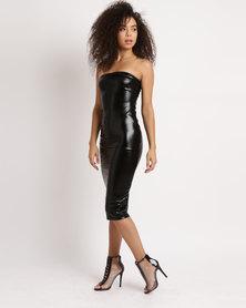 Brett Robson Kiki Vinyl Boobtube Dress Black