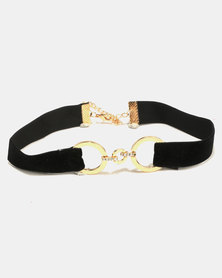 All Heart Velvet Choker With Ring Detail Black