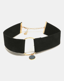 All Heart Broad Choker With Ring Detail Black