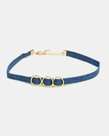 All Heart 3 Pack Denim Choker Set Blue