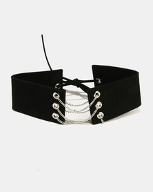 All Heart Wide Chain Detail Choker Black