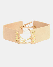 All Heart Wide Chain Detail Choker Beige