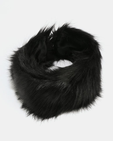 All Heart Faux Fur Scarf Black