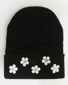 All Heart Flower Detail Beanie Black