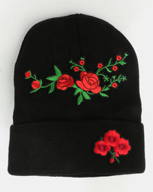 All Heart Floral Embroidery Beanie Black
