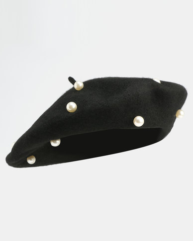 All Heart Pearl Detail Beret Black