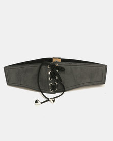 All Heart Faux Suede Waist Belt Black