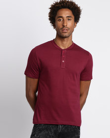 Utopia Basic Henley Tee Burgundy