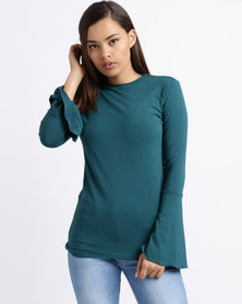 Utopia Flare Sleeve Tee Forest Green