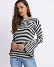 Utopia Stripe Flare Sleeve Tee Black/White
