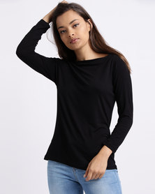 Utopia Boatneck 3/4 Sleeve Tee Black