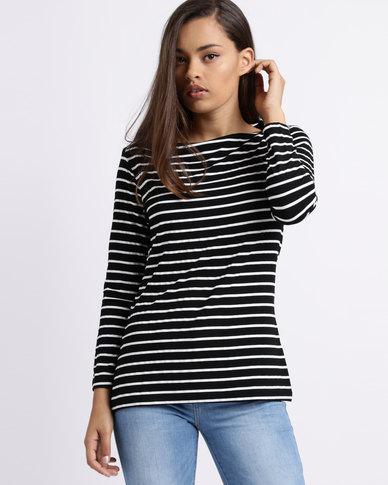 Utopia Stripe Boatneck 3/4 Sleeve Tee Black/White