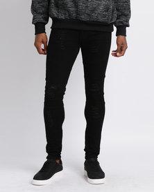 Utopia Moto Style Skinny Jeans Black