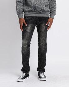Utopia Moto Style Skinny Jeans Grey