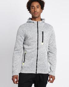 Utopia Melange Zip Through Hoodie Grey
