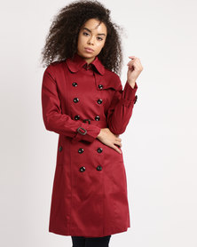 Utopia Belted Trench Coat Deep Red