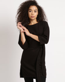 Utopia Belted Tunic Top Black