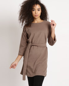 Utopia Belted Tunic Top Camel